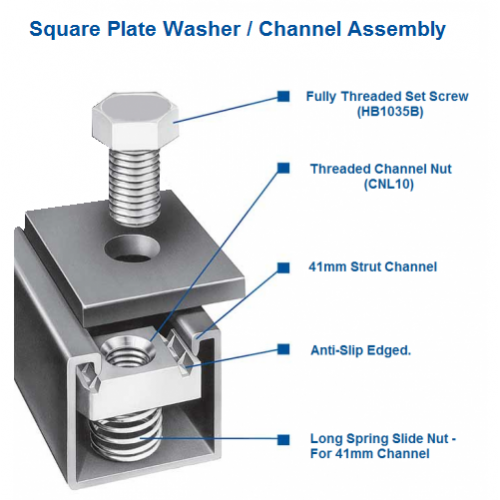 ... M8 Square Plate Washers - (Box of 100) - 40x40x5mm - BZP  sc 1 st  Direct Channel Support Systems - UK.COM & M8 Square Plate Washers - (Box of 100) - 5mm - BZP