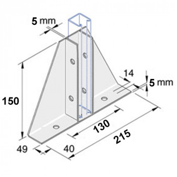 Single Gusset Base Plate - A4 Stainless