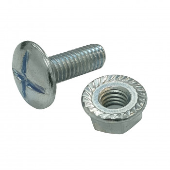 M6 x 12mm Cable Tray Bolt & Flange Nut x 100